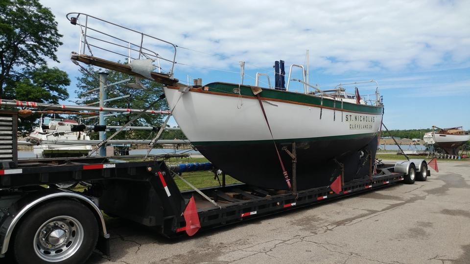 Westsail 32 sailboat on trailer in Grand River Marina boatyard